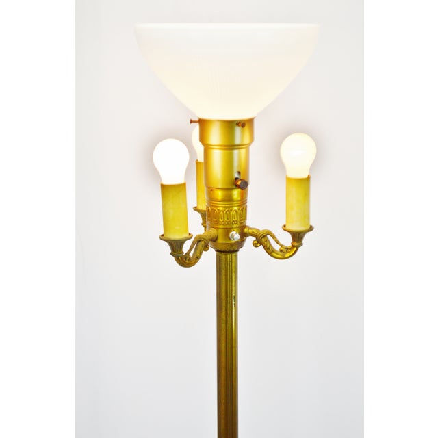Traditional Vintage Mitchell Torchiere Floor Lamp With Milk Glass Corning Diffuser and Slag Glass Base For Sale - Image 3 of 11