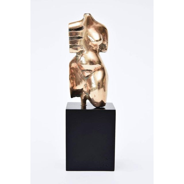 Signed Initialled Mid Century Bronze Sensual Abstract Cubist Torso Sculpture For Sale - Image 4 of 11