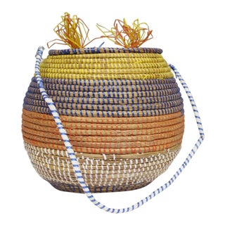 Vintage Woven Coil Basket With Lid Yellow Blue Orange White Boho For Sale
