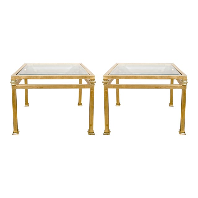Pair of Gilt Iron Side Tables For Sale