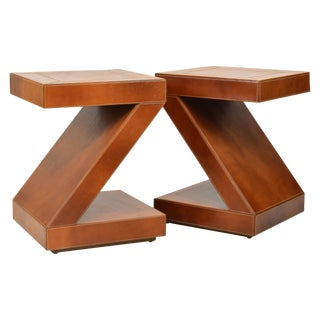 Vintage Modern Design Leather Clad Z-Themed Side / End Tables - a Pair
