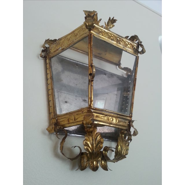 Gold Venetian Style Gilt Tole and Glass Wall Lantern For Sale - Image 8 of 10