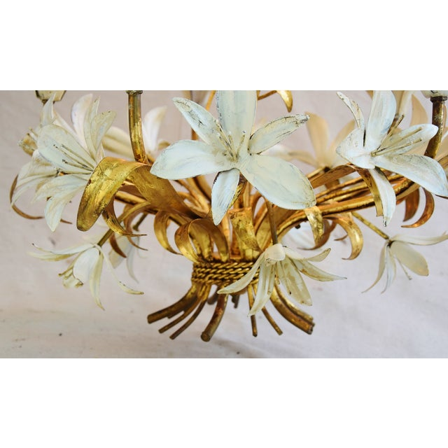 Vintage Five-Arm/Light Italian Gold Gilt Lily Tole Chandelier For Sale - Image 5 of 11