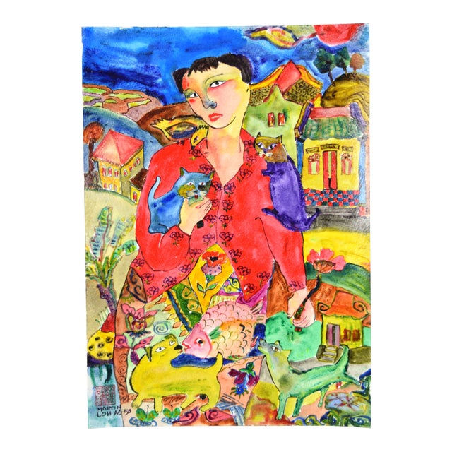 """Original """"Young & Pretty"""" Mixed Media Painting by Martin Loh For Sale"""
