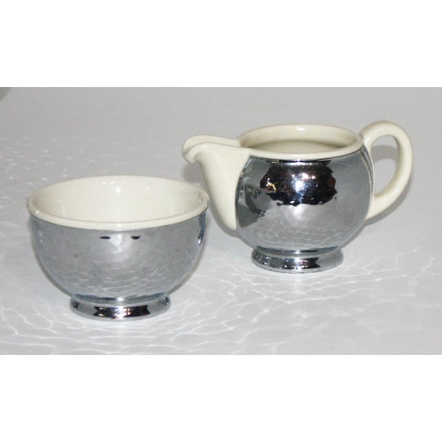 1920s Silver and Porcelain Tea Set of 4 For Sale In West Palm - Image 6 of 8