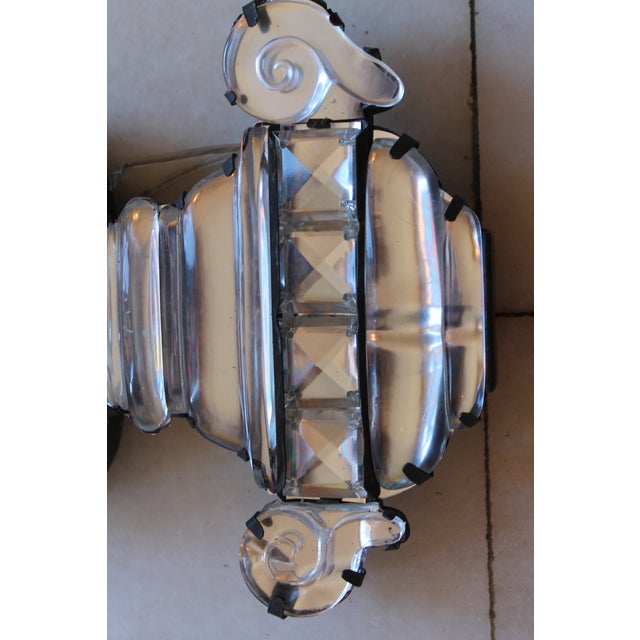 C1845 Maison Bagues Museum Quality Huge Crystal Floral Sconces/ Wall Lamps-Signed in Bronze - a Pair For Sale - Image 9 of 12