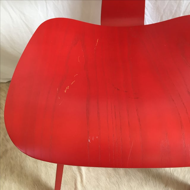 Red Eames DCW From Herman Miller Red Dining Chair For Sale - Image 8 of 9