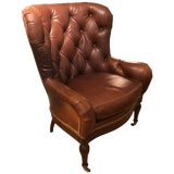 Image of Buttery Tufted Leather Wing Chair With Nailheads For Sale