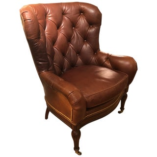 Buttery Tufted Leather Wing Chair With Nailheads For Sale