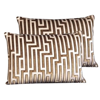 Kravet Couture Cut Velvet Pillows - Set of 2 For Sale