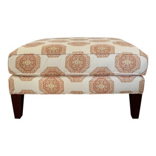 Modern Quadrille Medallion Melon Ottoman For Sale