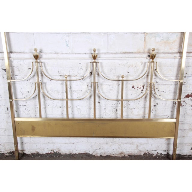 1970s Mastercraft Mid-Century Hollywood Regency Solid Brass King Size Headboard, Circa 1970s For Sale - Image 5 of 11