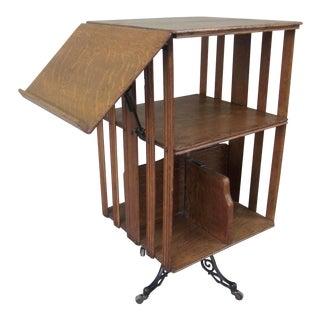 1900s Mid-Century Modern Revolving Swivel Rotating Oak Barrister For Sale