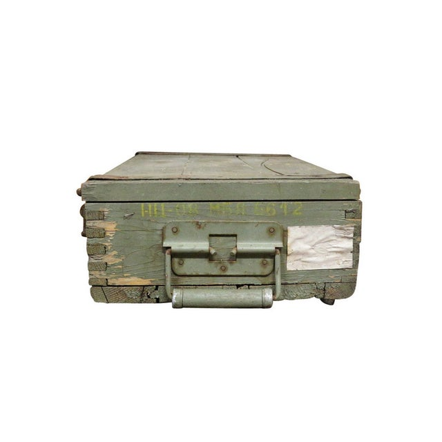 1950s Military Crate Wooden & Metal Ammo Box - Image 3 of 5