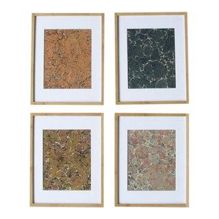 Marbled Paper Sample Prints - Set of 4 For Sale