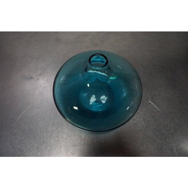 Squat Blue Glass Bud Vase - Image 3 of 4