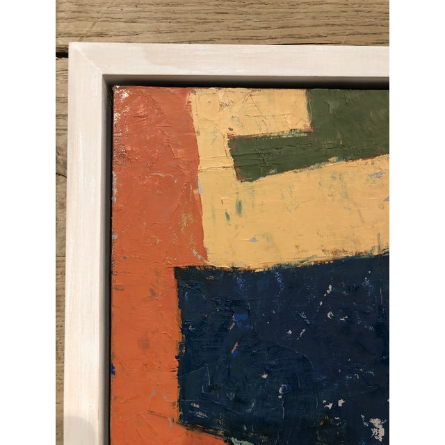 Mid-century Danish color story on board in white washed floater frame. This richly colored piece measures 11 inches in...