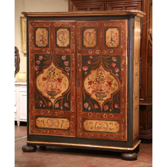 Early 19th Century French Pine Two-Door Painted Armoire From Alsace-Lorraine For Sale - Image 13 of 13