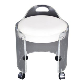 Round Bent Lucite Upholstered Bench Stool on Wheels For Sale