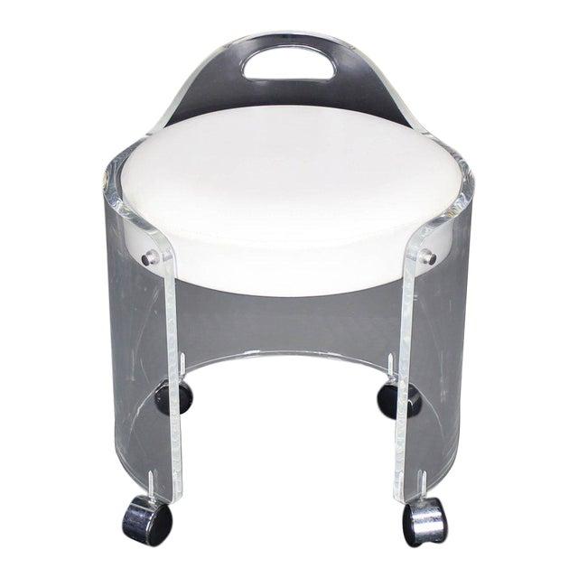 Terrific Round Bent Lucite Upholstered Bench Stool On Wheels Short Links Chair Design For Home Short Linksinfo
