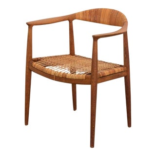 Mid 20th Century Hans Wegner Oak and Cane Round Chair For Sale