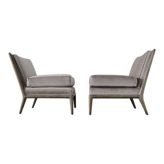 Pair of Vintage Mid-Century Modern Platinum Silver Gray Mohair Slipper Chairs For Sale