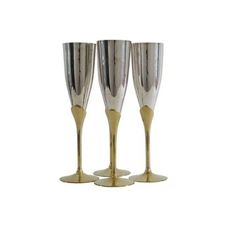 Silver & Brass Champagne Flutes - Set of 4