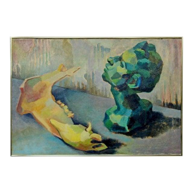 Mid-Century Modern Impressionist Framed Oil Painting on Canvas Signed B. Rosenbaum For Sale