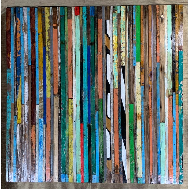 Exceptional wall hanging wood sculpture made of multi-colors reclaimed wood strips cuts, to put together beautiful Mosaic...
