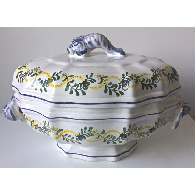 Vintage Faience Dolphin Handle Tureen - Image 7 of 7