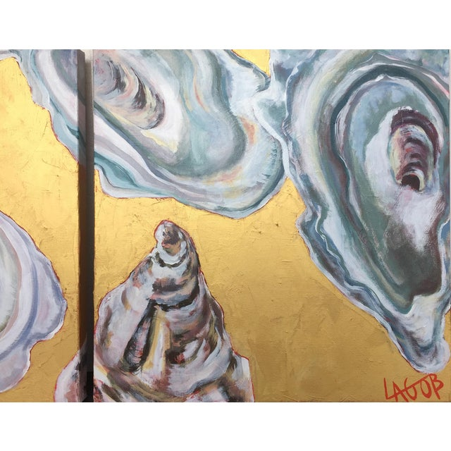 "Gold Contemporary Oysters Paintings on Canvas ""Gold Coast I, Ii, Iii"" by Leigh-Anne O'Brien (Lagob) - Set of 3 For Sale - Image 8 of 13"