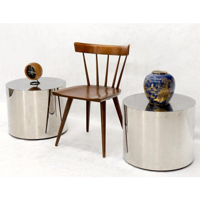 Paid of Mid-Century Modern round drum end side tables pedestals. Polished stainless steel bodies. Attributed to Pace...