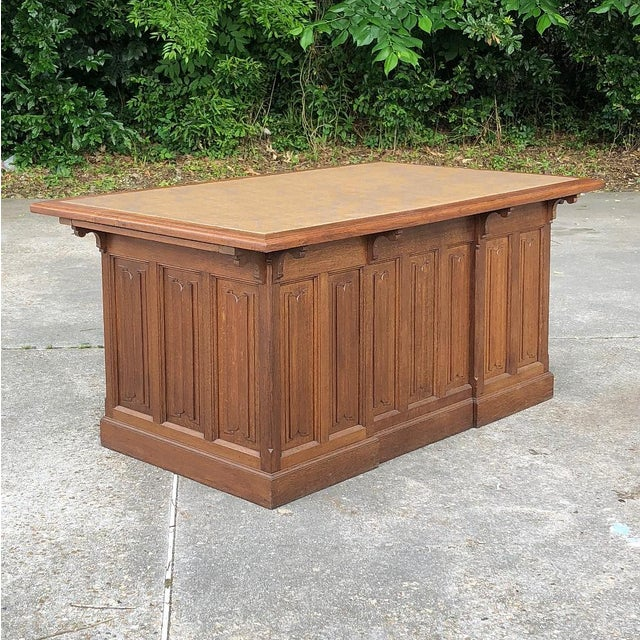 19th Century Gothic Oak Executive Desk For Sale - Image 12 of 13