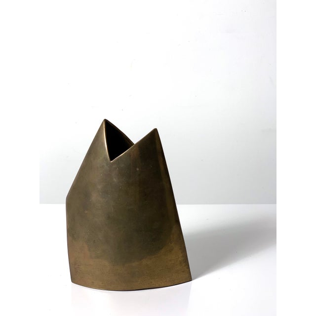 1970s Vintage Modernist Brass Vase by James Johnston, Circa 1970's For Sale - Image 5 of 10