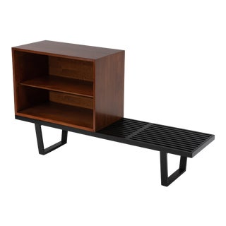 George Nelson Basic Series Cabinet on Ebonized Herman Miller Bench 1960s - a Pair For Sale