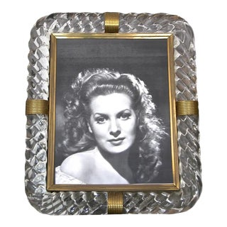 Italian Murano Thick Twisted Glass Rope Brass Picture Frame For Sale