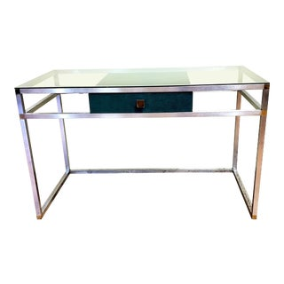 1970s Mid-Century Modern Glass Topped Writing Desk For Sale
