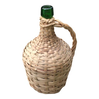 Vintage Rattan Wicker Wrapped Green Glass Jug