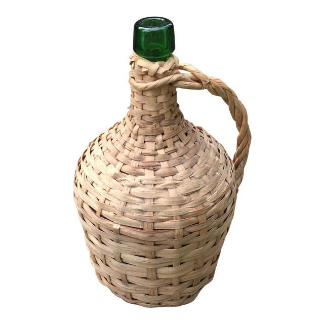 Vintage Rattan Wicker Wrapped Green Glass Jug For Sale