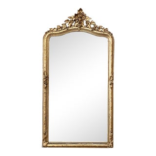 19th Century French Napoleon III Period Gilded Mirror With Fig Motif For Sale