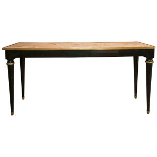 French Directoire Style Ebonized Console Table Oblong Marble Top by Jansen For Sale