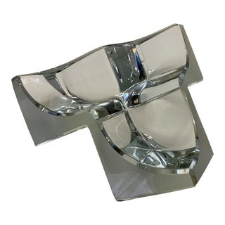 Daum France Three Section Cubist Crystal Vide Poche Bowl Vessel For Sale