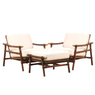 Superb Restored Pair of Loungers by Wisner for Ficks Reed, Circa 1954 For Sale