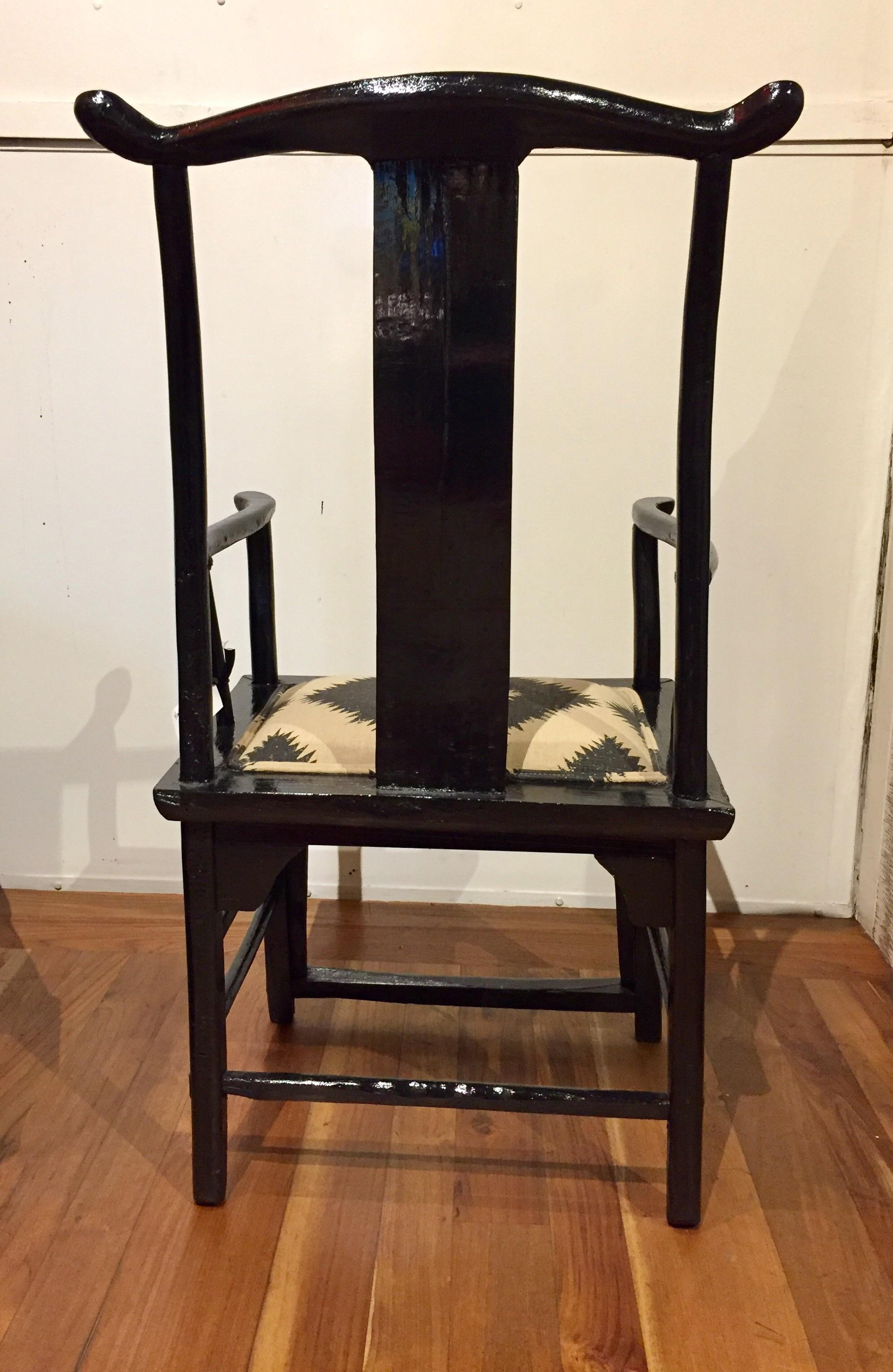Antique Chinese Yoke Back Armchair   Image 4 Of 5