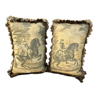 Rectangular Pillows of Noble Men on Horses - a Pair For Sale