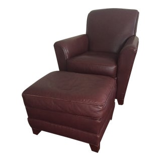 21st Century Vintage Stickley Leather Club Chair & Ottoman For Sale