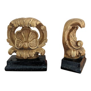 Hollywood Regency Style Gold Plaster Borghese Bookends - a Pair For Sale