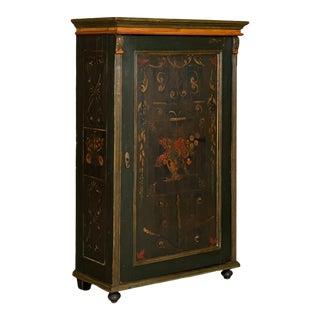 Antique Folk Art Painted Single Door Armoire For Sale