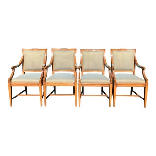 Set of 4 Charles Pollock William Switzer Gustavian Style Dining Chairs W Fortuny Backs For Sale