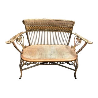 Antique Heywood Brothers Wakefield Mass Victorian Wicker Settee For Sale